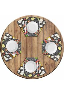 Jogo Americano Para Mesa Redonda Wevans Pizza Menu Kit Com 4 Pçs Love Decor - Kanui