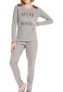 Pijama Feminino Cor Com Amor 12615 Cinza-Mescla