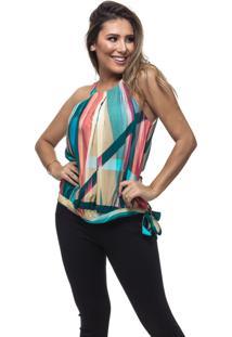 Regata Clara Arruda Pregas Frontais 20496 Multicolorido