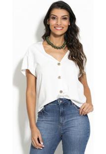 Blusa De Botões Branco