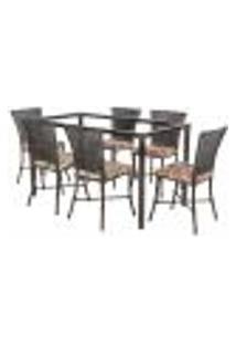 Jogo De Jantar 6 Cadeiras Turquia Tabaco A19 E 1 Mesa Retangular Sem Tampo Ideal Para Área Externa Coberta