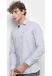 Camisa Manga Longa Tommy Hilfiger Slim Slub Stripe Bolso Masculina - Masculino