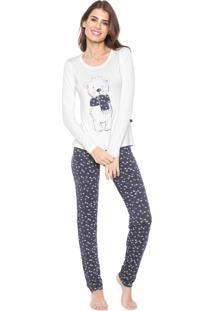 Pijama Any Any Winter Bear Off-White/Azul-Marinho