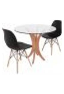 Conjunto Mesa De Jantar Tampo De Vidro 90Cm Com 2 Cadeiras Eiffel - Preto