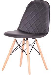 Cadeira Eames Matelasse Cor Preta Com Base Madeira - 61195 - Sun House