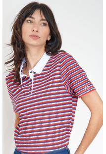 Camisa Polo Tommy Jeans Reta Listrada Vermelha