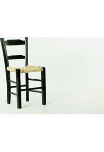 Cadeira De Palha Preta Pestre - Cadeira De Madeira E Palha/Palhinha - 40X41X82,5 Cm