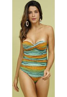 Mai㴠Tomara Que Caia Com Franzidos- Verde ÁGua & Laranjamos Beach Wear