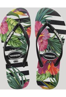 Chinelo Feminino Havaianas Slim Listrado Com Flores Preto