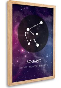 Quadro Signos Aquário Zodíaco Horóscopo Natural E Vidro Decorativo Oppen House