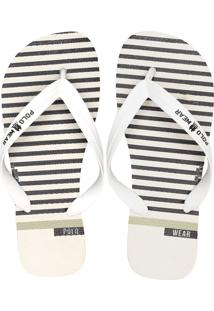Chinelo Polo Wear Listras Branco