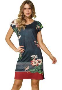 Vestido Recco Crepe E Viscose Azul - Tricae