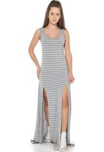 Vestido Feminino Listrado Com Fendas Cinza