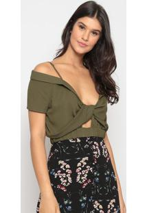 Blusa Cropped Com Recortes- Verde Militar- Pacific Bpacific Blue