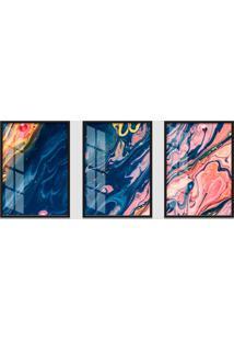 Quadro 60X120Cm Abstrato Ametista Roxa Moldura Preta Sem Vidro Decorativo Interiores