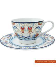 Jogo Para Chá Com 12 Peças L Hermitage Colorido 250 Ml