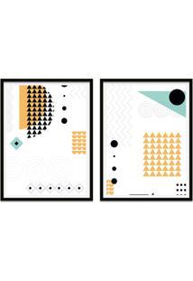 Quadro Oppen House 67X100Cm Formas Geométricas Liberté Amarelo E Preto Moldura Preta Com Vidro