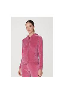 Jaqueta Hering Básica Em Plush Com Capuz E Bolso Frontal Rosa