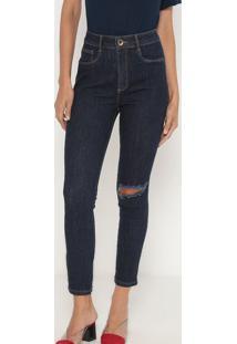 Jeans Super High Ankle Com Bolsos- Azul Escuro- Lançlança Perfume