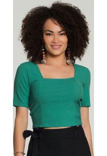 Blusa Cropped Canelada Verde