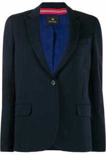 Ps Paul Smith Blazer Com Lapelas Finas - Azul