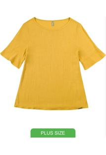 Blusa Com Manga Curta Diferenciada Amarelo
