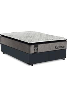 Cama Box King Cinza + Colchão De Molas Ensacadas - Sealy - Platinum - 193X203X67Cm
