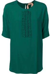 Nº21 Blusa Com Franzido Nas Mangas - Verde