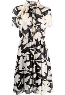 Calvin Klein Vestido Com Babados Na Gola E Estampa Floral - Preto