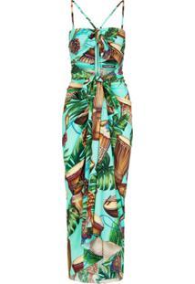 Dolce & Gabbana Vestido Slim Com Estampa Tropical - Verde