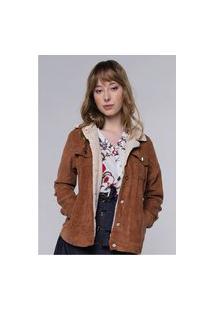 Jaqueta Vintage Em Cotelê Com Gola De Pelinhos Sob Com Bolsos Caramelo