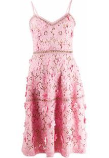 Michael Michael Kors Vestido Slim Com Aplicação Floral - Rosa