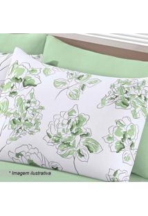 Fronha Basic Lizia- Verde & Branca- 70X45Cm- Buebuettner