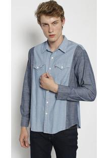 Camisa Jeans Com Recorte- Azul Claro & Azullevis
