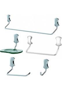 Jogo De Acessórios Para Banheiro Meber Clic, 5 Peças, Cromado