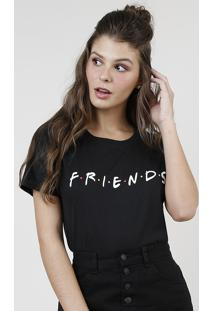 Blusa Feminina Friends Manga Curta Preta