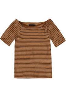 Blusa Básica Em Malha De Algodão Com Decote Canoa Feminina - Feminino-Caramelo