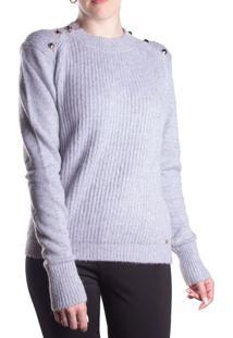 Blusa Feminina Biamar Com Botões Malharia Cinza Claro - U