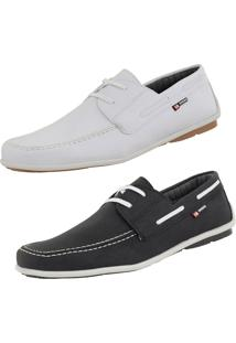 Kit Mocassim Casual Cr Shoes Drive Preto E Branco