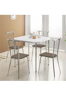 Mesa 1510 Branca Cromada Com 4 Cadeiras 154 Cromada Camurça Conhaque Carraro