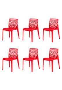 Kit 6 Cadeiras Gruvyer Vermelha Sala Cozinha Jantar