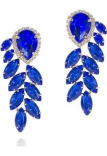 Brinco Pedra Pura Folha Safira Feminino - Feminino-Azul