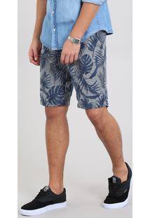 Bermuda Masculina Slim Estampada De Folhagem Cinza Mescla Escuro