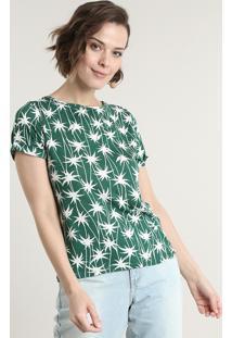 Blusa Feminina Estampada De Coqueiro Manga Curta Decote Redondo Verde