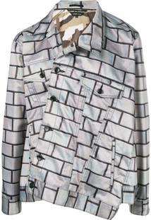 Comme Des Garçons Homme Plus Jaqueta Assimétrica Estampada - Cinza