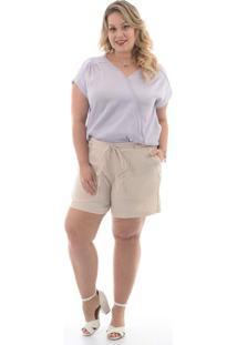 Short Linho Bege Plus Size