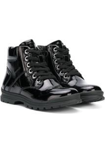 Geox Kids Ankle Boot Com Cadarço - Preto
