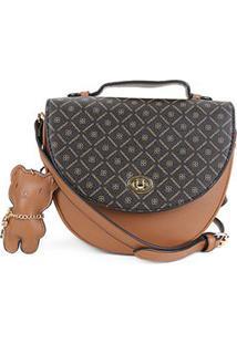 Bolsa Chenson Mini Bag Estampada Feminina - Feminino-Marrom