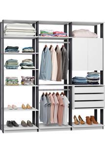 Guarda-Roupa Casal Modulado Clothes 2 Pt 3 Gv Branco E Espresso
