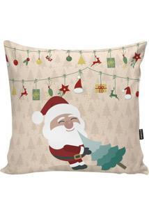 Capa De Almofada Papai Noel- Bege & Verde- 45X45Cm